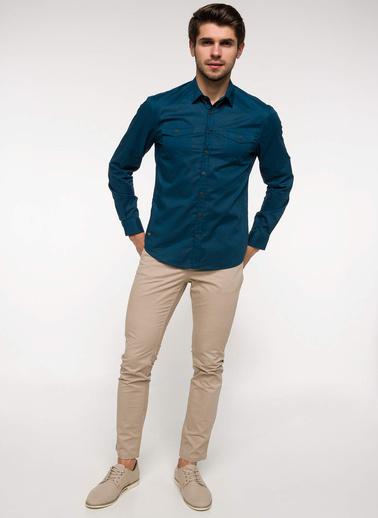 DeFacto Slim Fit Katlanabilir Kol Detaylı Gömlek Yeşil